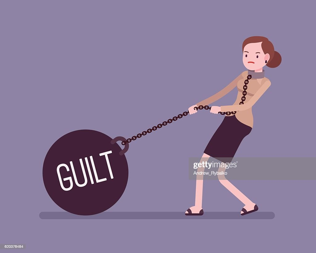 Businesswoman dragging a weight Guilt on chain