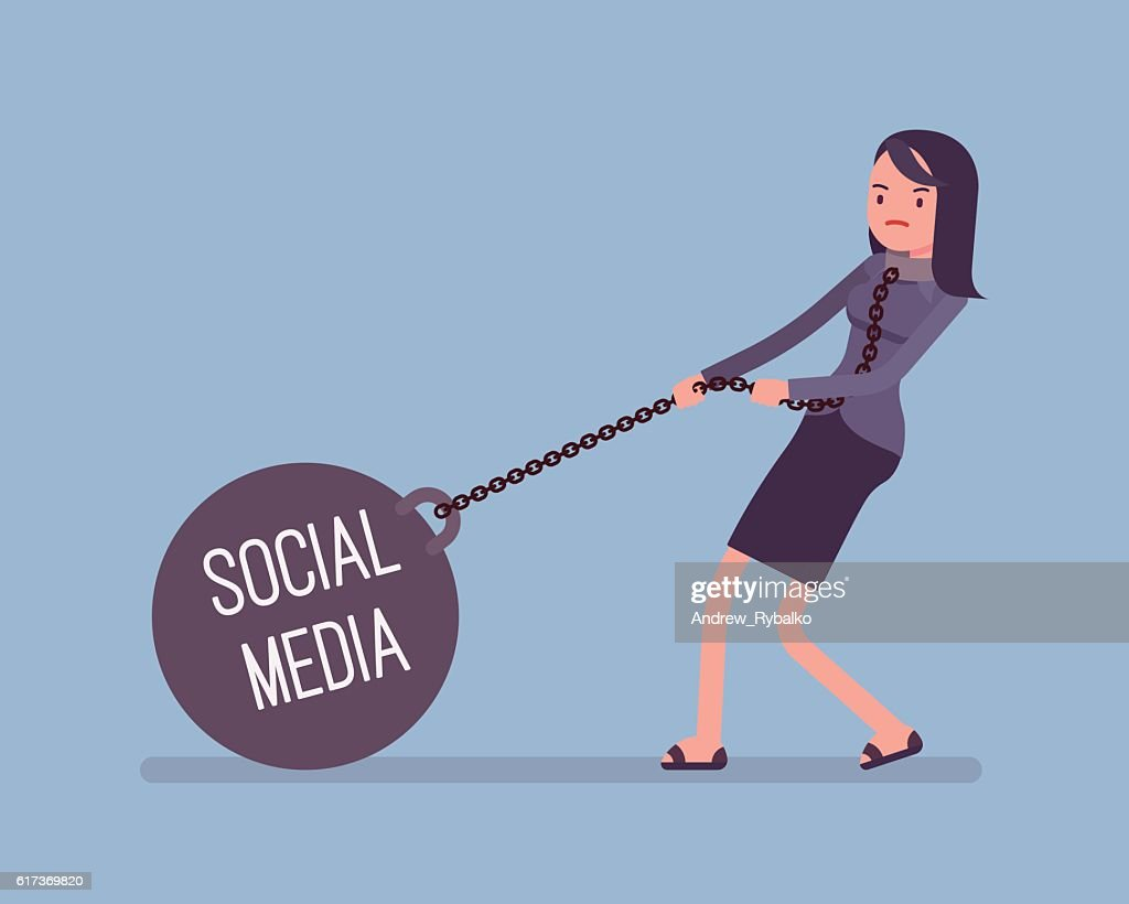 Businesswoman dragging a weight Social Media on chain