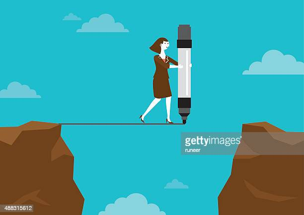 businesswoman drawing line across cliffs | new business concept - courage stock illustrations, clip art, cartoons, & icons