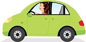 Businesswoman driving her car