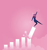 Businesswoman falling down from broken growth rate diagram - Business concept vector