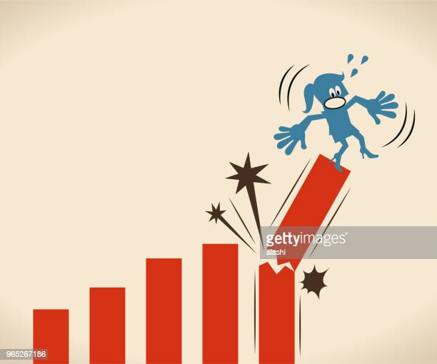 ilustraciones, imágenes clip art, dibujos animados e iconos de stock de empresaria cayendo del diagrama de tasa crecimiento roto - madre trabajadora
