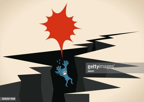 businesswoman (woman, girl) falling into earthquake ground crack gap (deep break) - downsizing unemployment stock illustrations, clip art, cartoons, & icons
