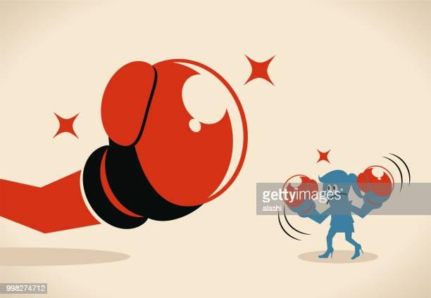 illustrations, cliparts, dessins animés et icônes de femme d'affaires (boxer, femme) luttant contre gros gant de boxe - courage