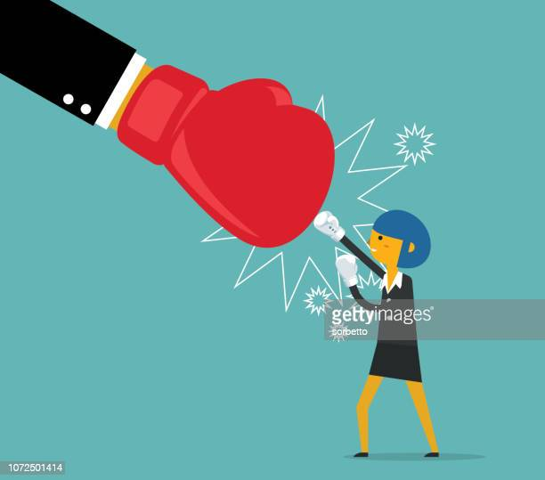 businesswoman fighting - boxing glove stock illustrations