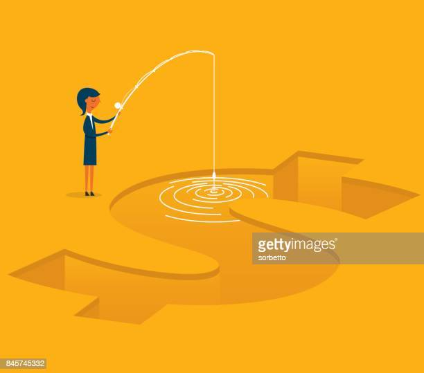 businesswoman fishing concept - patience stock illustrations