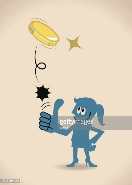 businesswoman (woman, girl) flipping a coin (toss up gold currency), thumbs up gesturing, hand on hip - flipping a coin stock illustrations