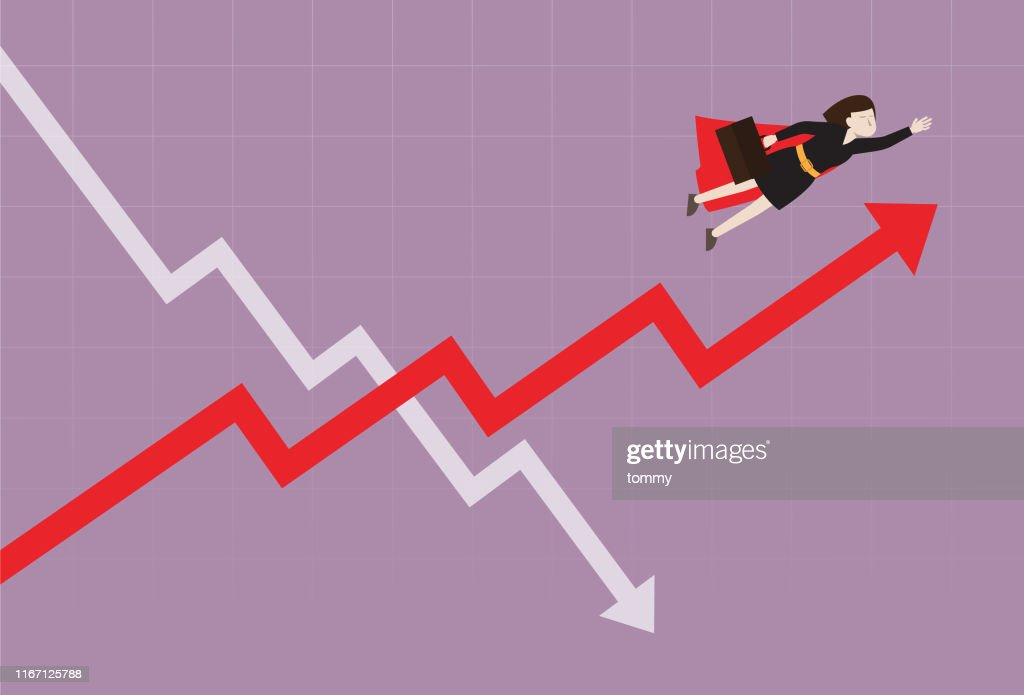 Businesswoman fly over the stock market graph : stock illustration
