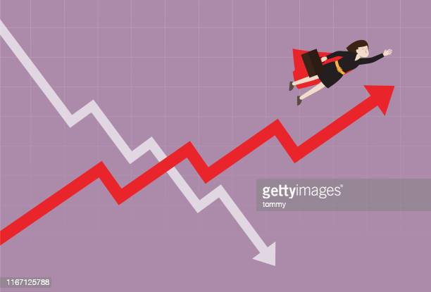 businesswoman fly over the stock market graph - moving up stock illustrations