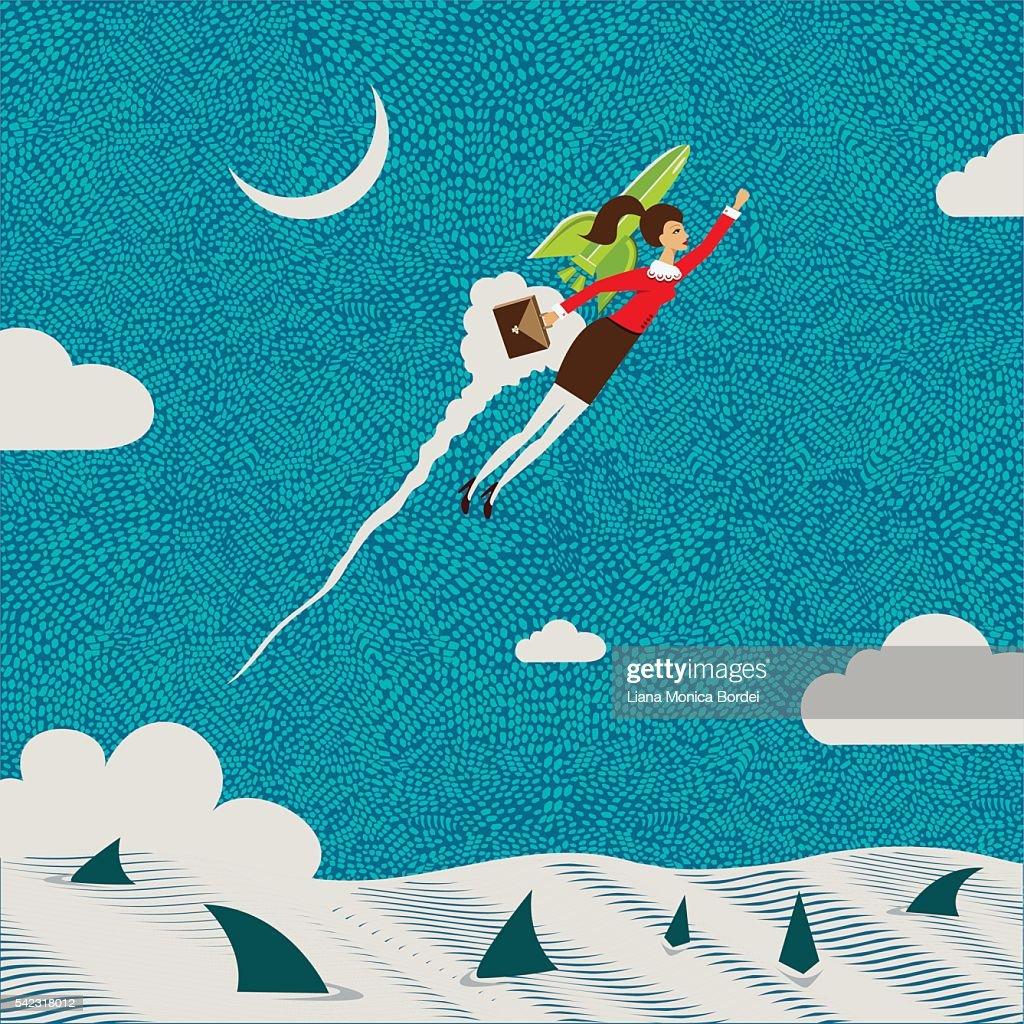 Businesswoman flying : stock illustration
