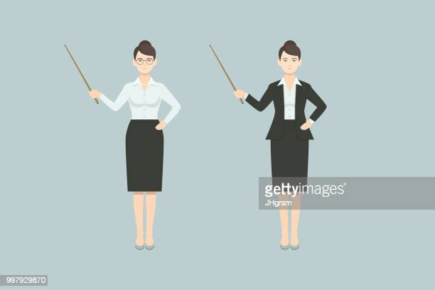 businesswoman, gesture collection - professor stock illustrations, clip art, cartoons, & icons