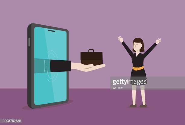 geschäftsfrau bekommt einen neuen job aus dem internet - umschulung stock-grafiken, -clipart, -cartoons und -symbole