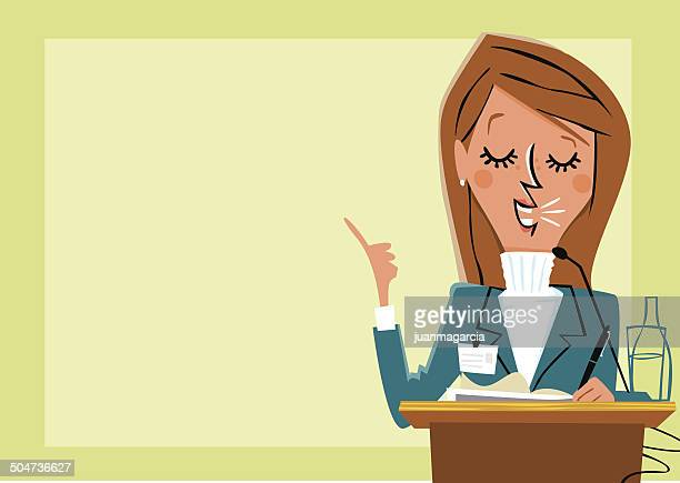 businesswoman giving presentation and presenting business results. - president stock illustrations, clip art, cartoons, & icons