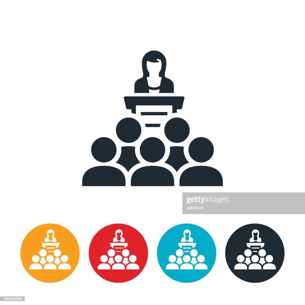 Businesswoman Giving Presentation Icon : stock illustration