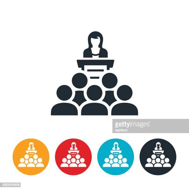 Businesswoman Giving Presentation Icon