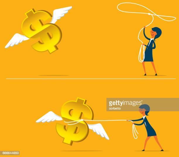 Geschäftsfrau Griff das Flying-Geld