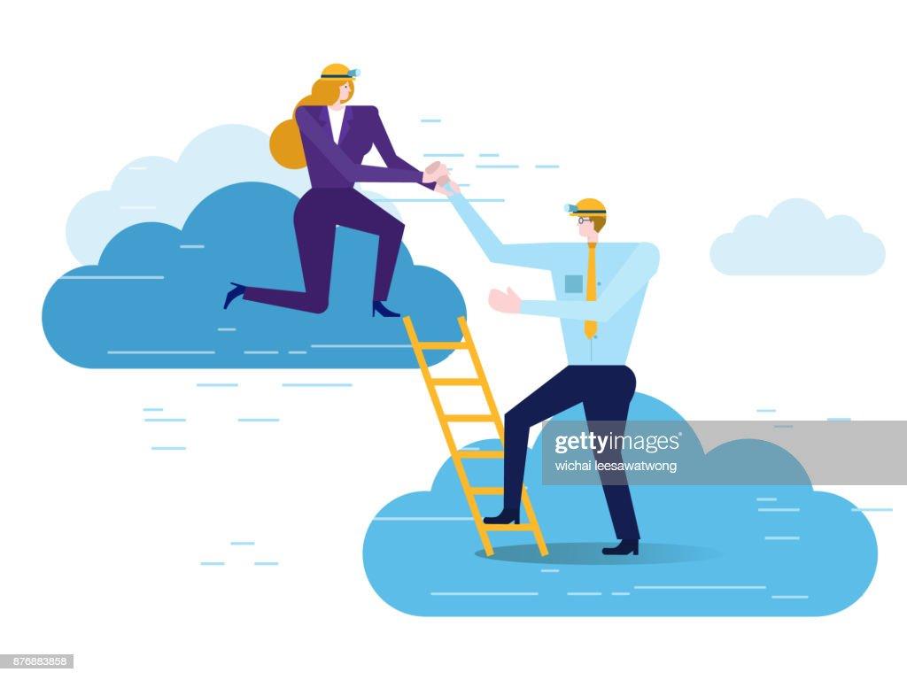 Businesswoman help Businessman climbing upward.