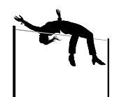 Businesswoman high jump silhouette