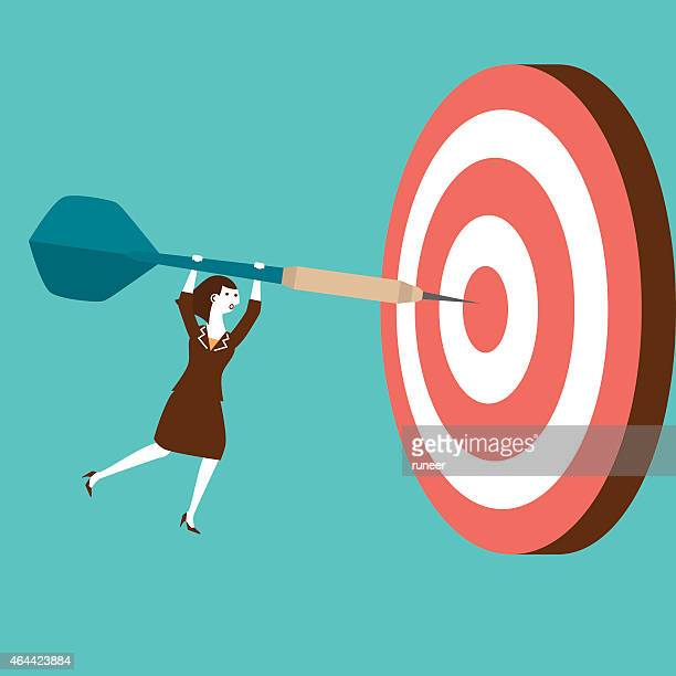 businesswoman hits target with dart | new business concept - dart stock illustrations, clip art, cartoons, & icons