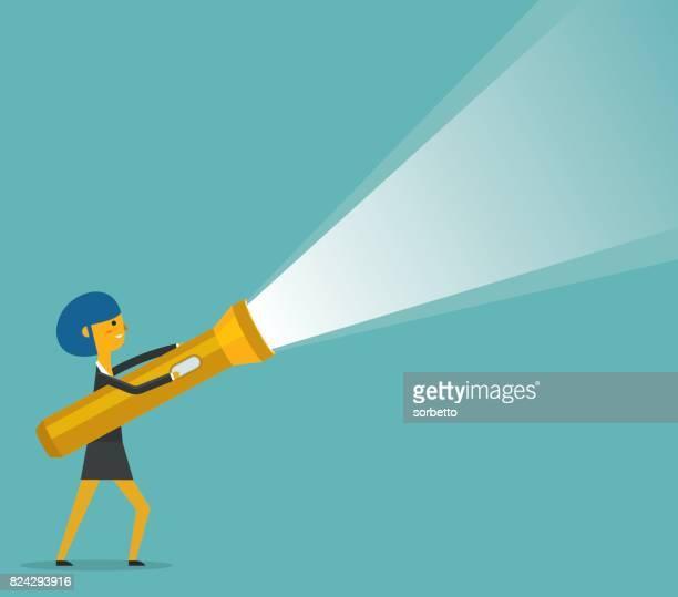 businesswoman holding a big flashlight - flashlight stock illustrations, clip art, cartoons, & icons