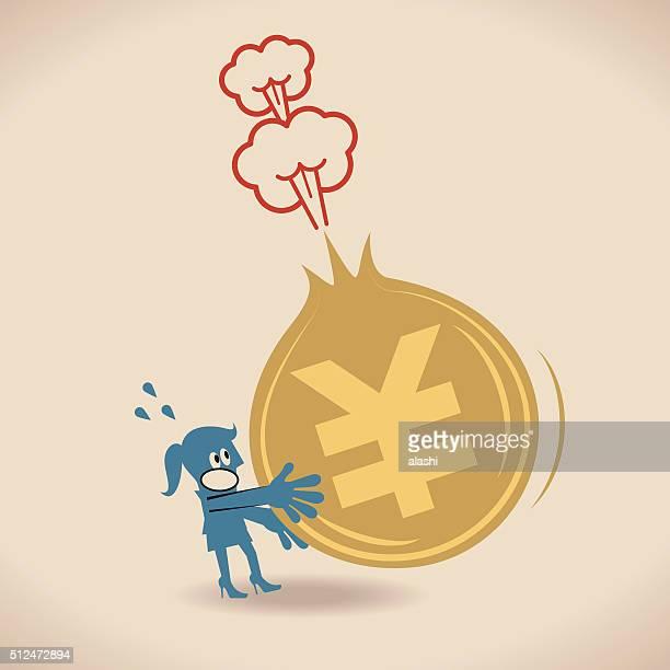 を持つビジネスウーマンの崩壊(エクスプローディング)、日本円の通貨の硬貨サイン