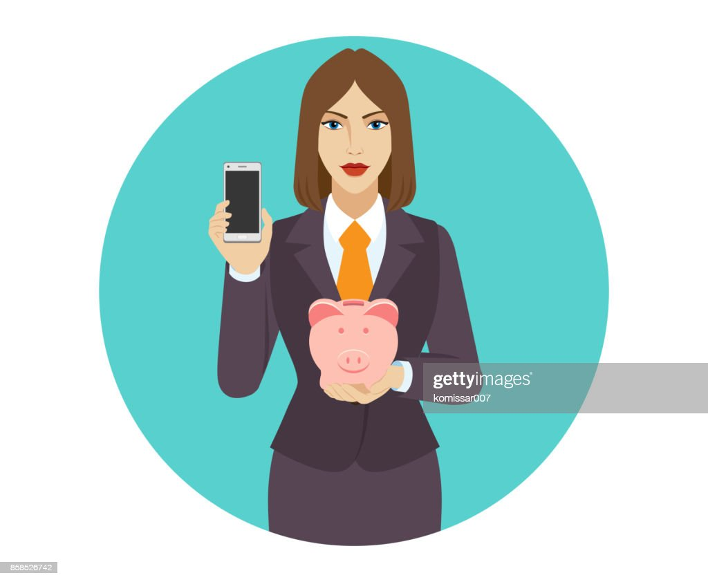 Businesswoman holding a mobile phone and piggy bank.
