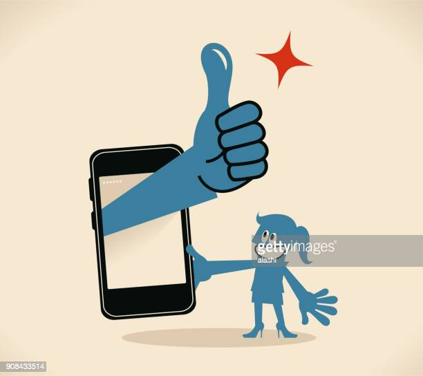 businesswoman holding a mobile phone, big hand out from the smart phone with thumbs up gesture - applauding stock illustrations, clip art, cartoons, & icons