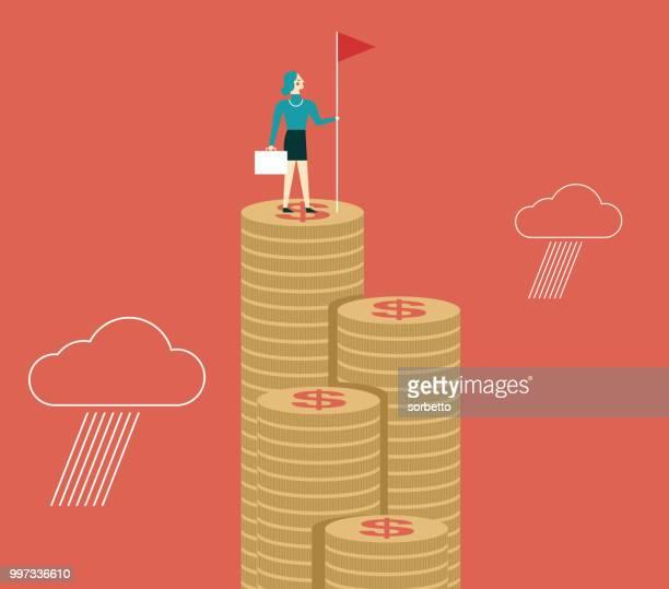 ilustrações de stock, clip art, desenhos animados e ícones de businesswoman holding flag on top of money - colocar