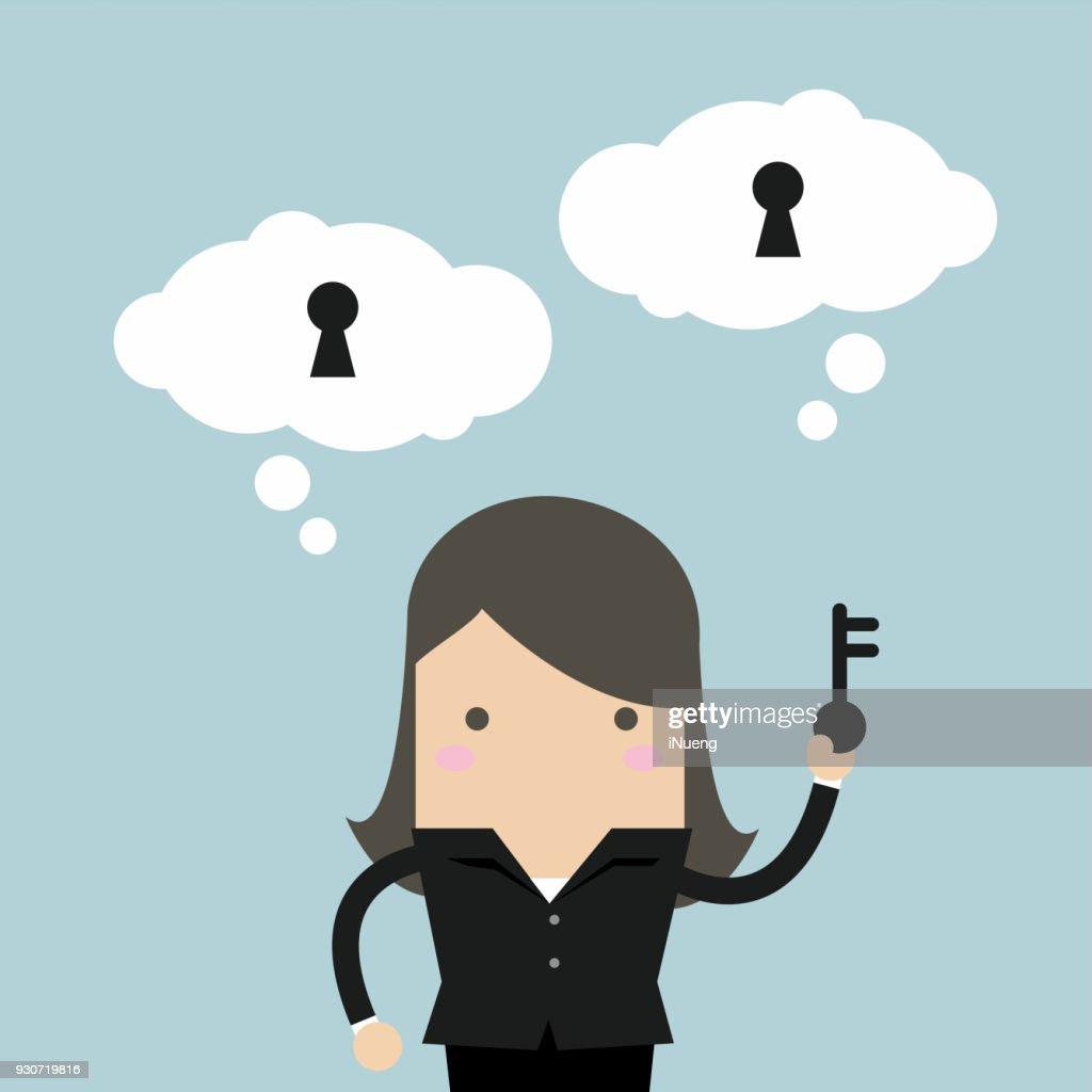 Businesswoman holding key for unlock the idea.