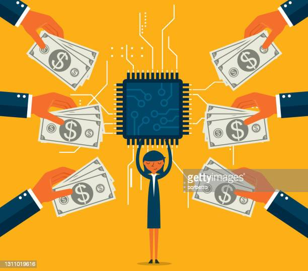 businesswoman holding microchip - sold out stock illustrations