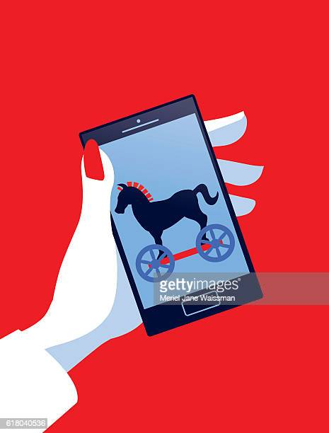 businesswoman holding mobile phone with trojan horse - malfarbe stock illustrations