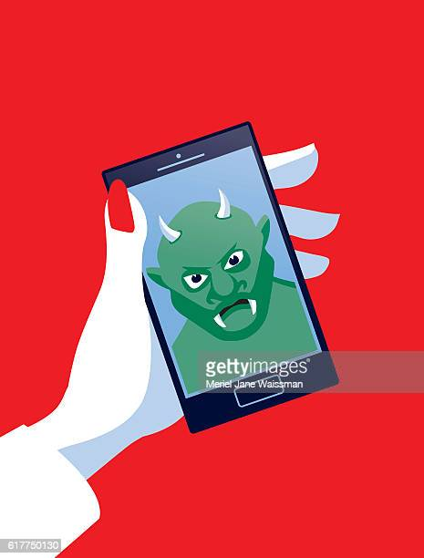 Businesswoman Holding Mobile Phone with Troll