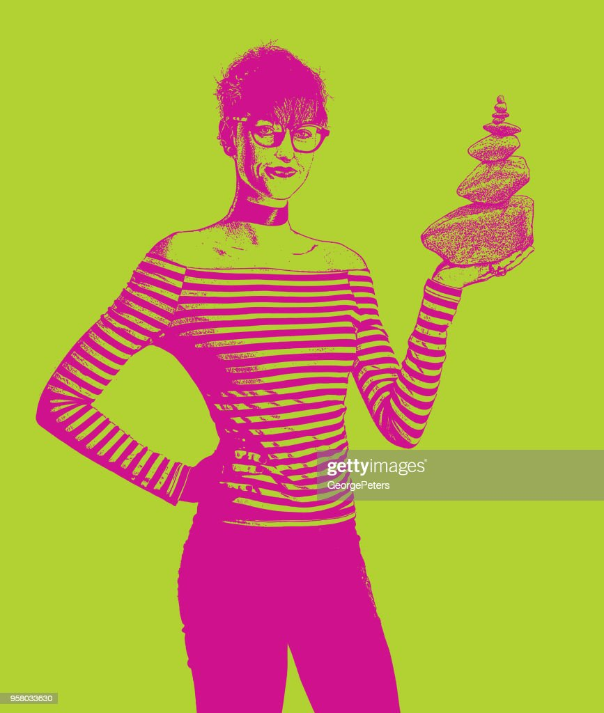 Businesswoman holding rock cairn : stock illustration