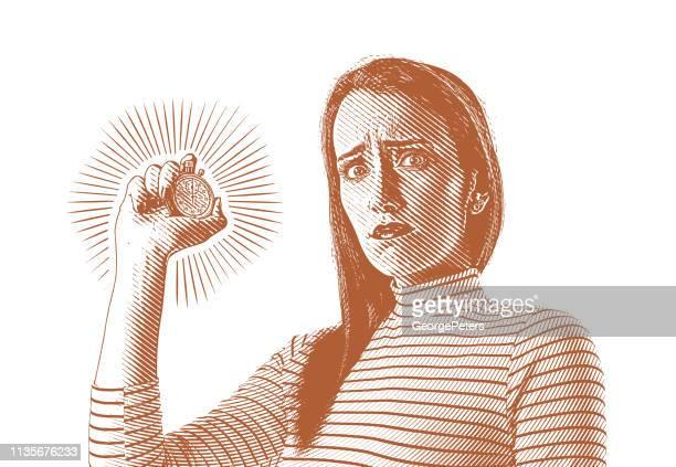 ilustraciones, imágenes clip art, dibujos animados e iconos de stock de businesswoman que sostiene el cronómetro con la expresión tensionada - una sola mujer