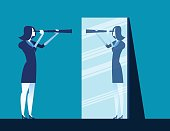 Businesswoman holding telescope and reflecting in mirror. Concept business vector illustration.