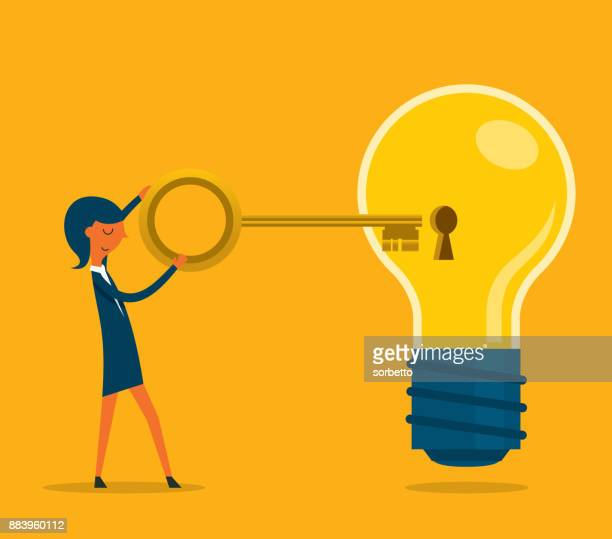businesswoman holding the gold key - unlocking stock illustrations