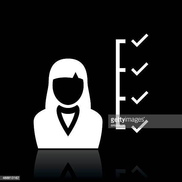 Businesswoman icon on a black background.