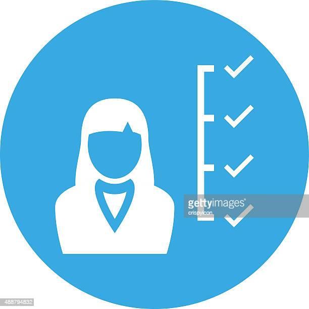 Businesswoman icon on a round button.