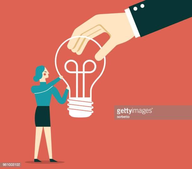 Geschäftsfrau - Idee Glühbirne