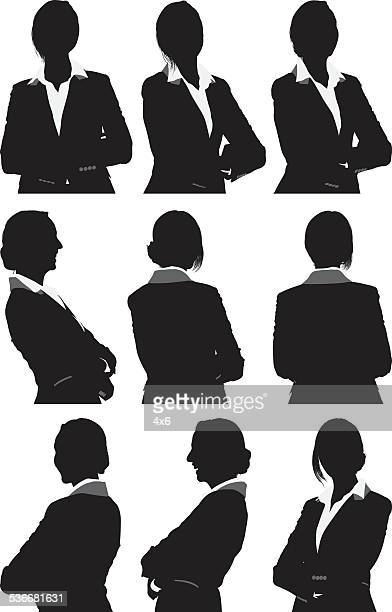 businesswoman in 360 degree view - waist up stock illustrations
