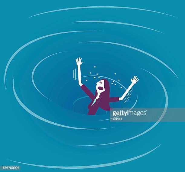 Businesswoman in a whirlpool