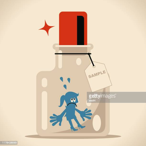 businesswoman in confined space glass bottle with cork (airtight container) and label - cork stopper stock illustrations, clip art, cartoons, & icons
