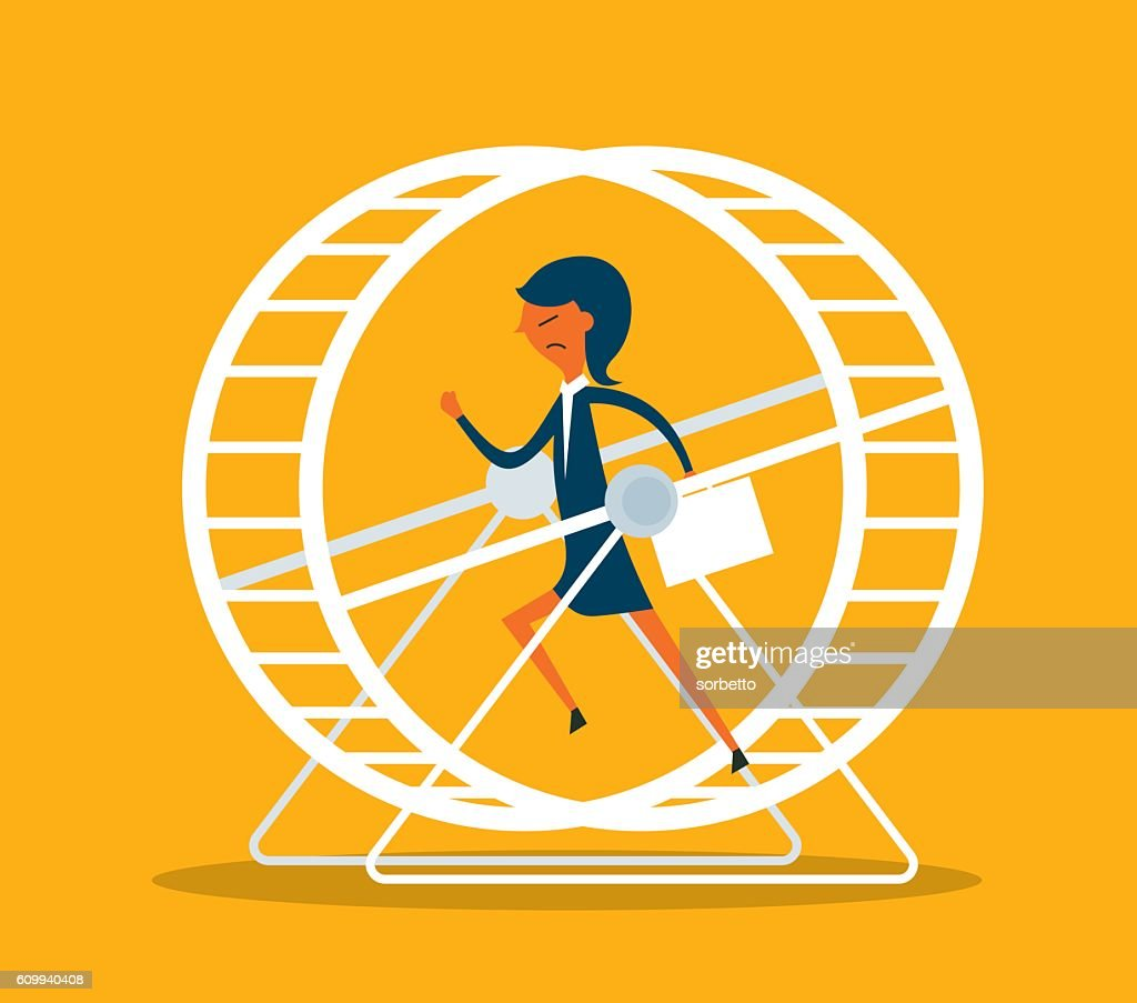 Businesswoman in Hamster Wheel : stock illustration