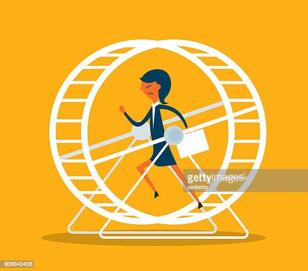 Businesswoman in Hamster Wheel