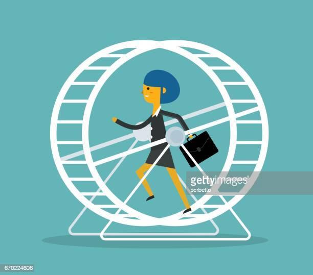 Businesswoman in Hamster Wheel