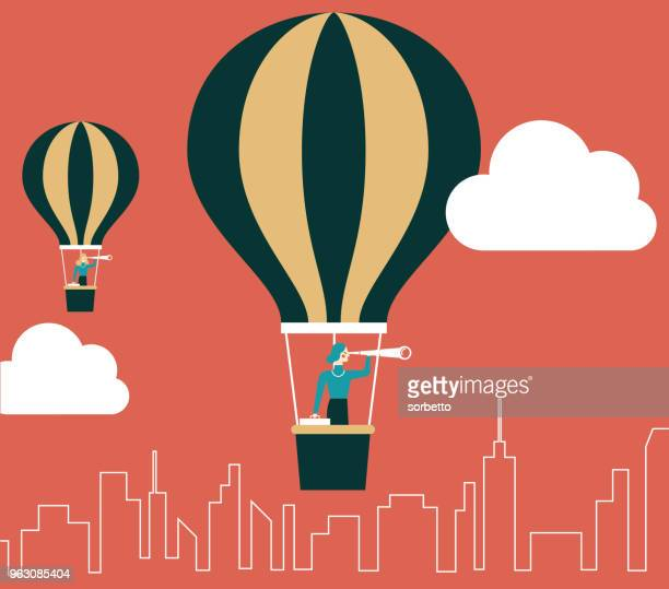 businesswoman in hot air balloon - balloon ride stock illustrations