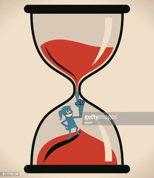 businesswoman (woman, girl) in hourglass with hand on hip, stopping sand timer - women's issues stock illustrations, clip art, cartoons, & icons