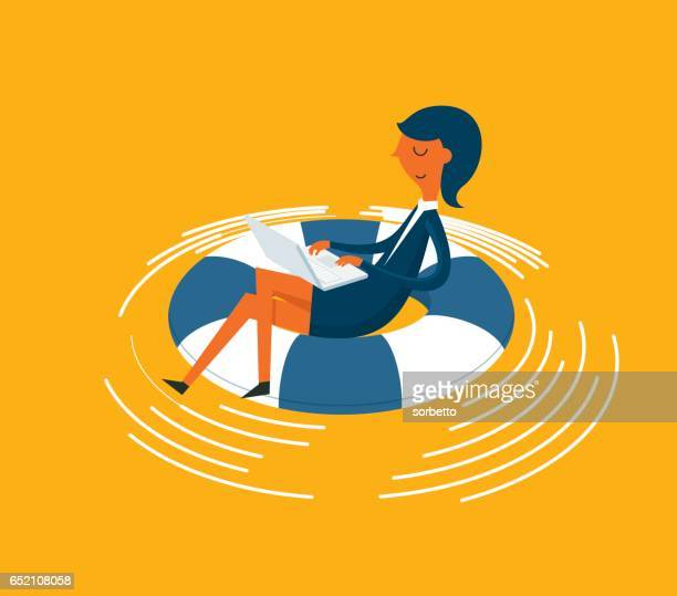 businesswoman in lifebuoy - buoy stock illustrations, clip art, cartoons, & icons