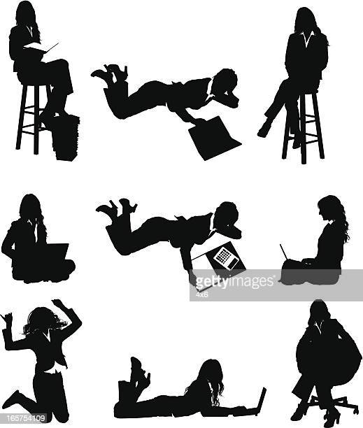 businesswoman in various poses - lying on front stock illustrations, clip art, cartoons, & icons