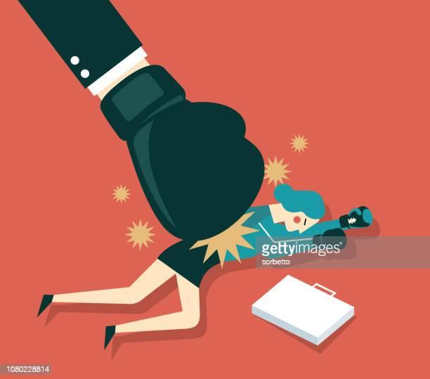 ilustraciones, imágenes clip art, dibujos animados e iconos de stock de empresaria es golpeada por el boxeo - bullying